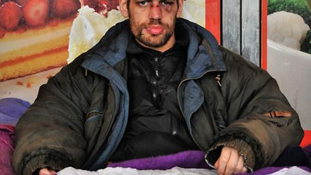 Homeless Andy Francis who is living on the streets of Norwich during the cold weather.PHOTO BY SIMON