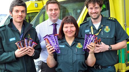 Saying thanks with some chocolate to our ambulance staff for all their work in the winter weather. D