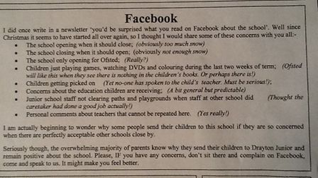 Part of the newsletter sent to parents. Submitted