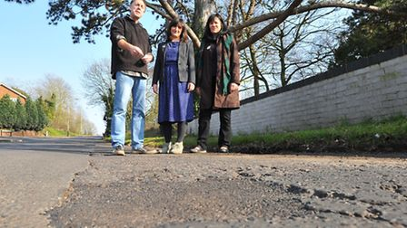 Green councillors Neil Blunt, Lucy Galvin and Caroline Brimblecombe on Hellesdon Hall Road where pot