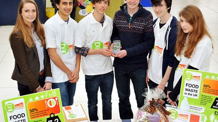 Norwich school students promoting their FoodSafe app at the Forum trade fair. From left: Lucy Wilkes