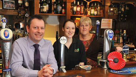 Evening News Pub of the Week, The Cottage in Thorpe. Ian Perry, Amber Wilson and Jayne Lovewell. Pho
