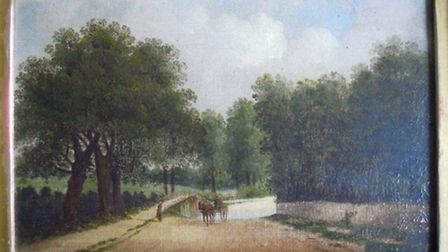 Oil on canvas painting from 19th C by Edward Littlewood of stick bridge at Costessey.