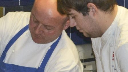 Chris Murray making fresh pasta with City College Norwich student Alex Saunders. Photo: City College