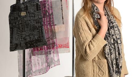 Fabric designer Katie Whitton with some of her creations. Photo: Steve Adams