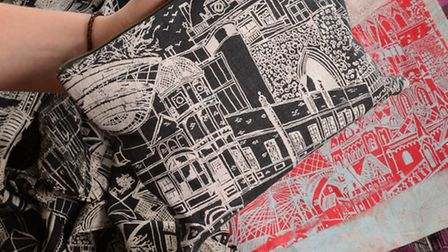 Some of Katie Whitton's designs, including the Norwich print. Photo: Steve Adams.