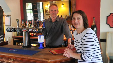 Victoria MacDonald and her brother-in-law James Spalding, business partner in the Kings Head in Broo