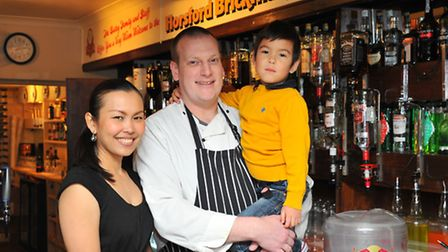 The Brickmakers in Horsford. Landlord and landlady Mark and Nai Hawkes with their son Jack.PHOTO BY