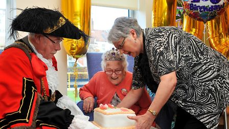 Milly Hayward, Norwich's first meter maid, celebrating her 100th birthday with family and Lord Mayor
