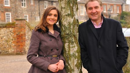 Kevin Piper with his daughter Alice in the Close, Norwich. Photo: Steve Adams