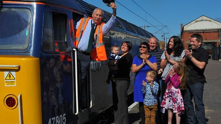 David Thompson (65) who is retiring after a lifetime in the rail industry. Pictured with his family