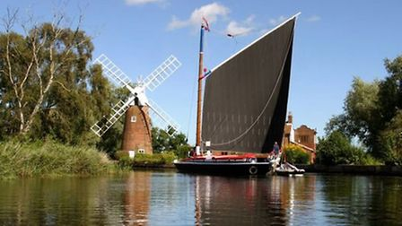 The 23 ton, black sailed, former trading wherry, Albion, which will be taking part in the Broads Out