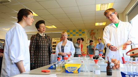 The Princess Royal visiting East Norfolk Sixth Form College in Gorleston.30th April 2013Picture: Jam