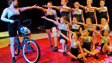 The gymnasts from the Chermond School taking part in the Russell Vince National Circus at Taverham.