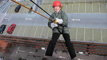Raising money for EACH by a abseiling down Norfolk Tower in Norwich, William Duckworth puts on a not