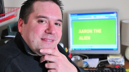 Jon Jones from Norwich who has written his first book, Aaron the Alien.PHOTO BY SIMON FINLAY