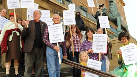 Campaigners who want the Silver Rooms as a community centre at City Hall to protest against the coun