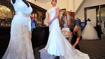 EDP wedding show at Dunston Hall. Clair Link modelling a dress from Pure Bridal with Anna Hare. Pho