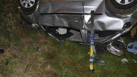 Joseph Salah-Eldin's Vauxhall Corsa after the crash which caused David Powell to die.