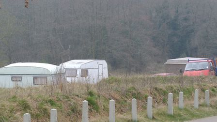 Caravans parked off Sir Alfred Munnings Road at Queen's Hills in Costessey.Photo: Bill Smith