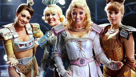 Skaters from Starlight Express at the Theatre Royal. Ruthie Stephens, Amanda Coutts, Kelsey Cobban a