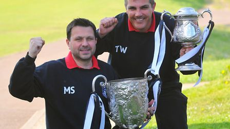 Acle United's Sterry Cup and Mummery Cup double-winning joint-managers Martyn Sinclair and Tony Ward