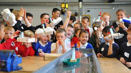 Children from Horsford, Kingsale, Arden Grove and Heather Avenue infant schools racing solar powered