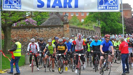 Taking to two wheels for the British Heart Foundation. Cyclists embarking on the Norwich 100 bike ri