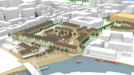 A 3D model of what development at St Anne's Wharf might look like.