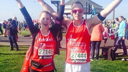 Tiffany Laskey and her cousin, Aaron English, after completing the London Marathon.