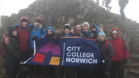 City College Norwich Three Peaks Challenge. Pictured: On top of Snowdon. Photo: Supplied