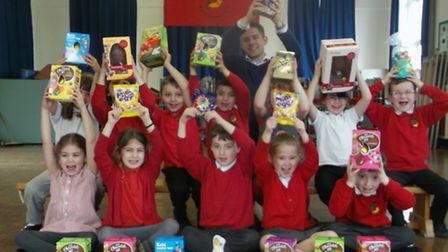 Children at Lionwood Infant School received a donation of chocolaty Easter treats from their local s