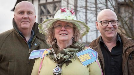 Wymondham mayor Dianne Fernee relaunches the carnival with Dave Disney, left, and Tony Holden. Photo