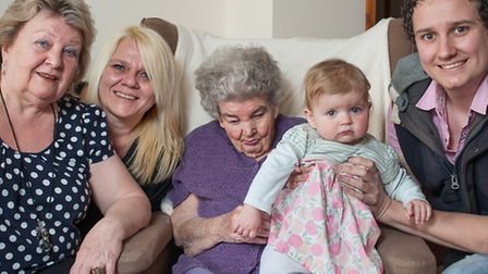 Five generations of a family gathered for a photograph in Sprowston. 90-year-old Ivy Chittock, daugh