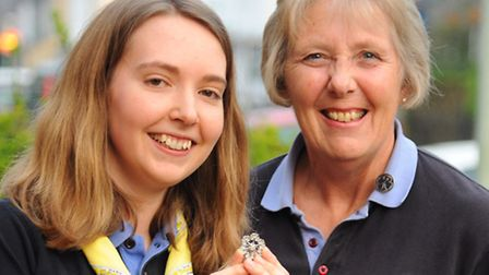 Sarah Shailes, 25, with her Queen's Guide Award. With her is county commissioner, Pat Pinnington. Pi