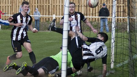 Action from Swaffham Town's 1-1 draw with Saffron Walden Town at Shoemakers Lane, pictured is Mark A