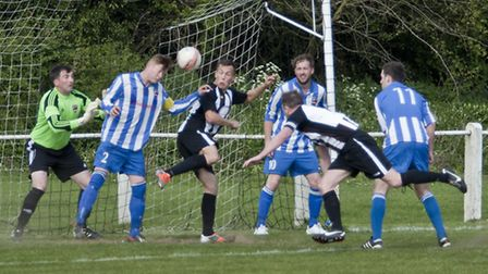 Action from Swaffham Town's 1-1 draw with Saffron Walden Town at Shoemakers Lane, pictured is Toby H