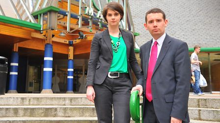 Norwich MP's Simon Wright and Chloe Smith outside Castle Mall where the the Timber Hill Health Centr