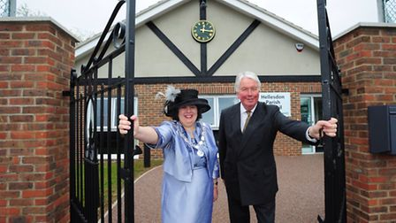 Opening the Diamond Jubilee Lodge at Hellesdon Community Centre, council chairman Shelagh Gurney and
