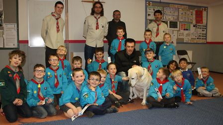 The 1st Horsford and St Faiths Scout Group present cheque to charity Guide Dog; Photo credit: Submit