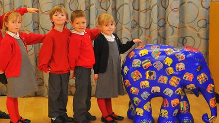 School Council members from Sparhawk Infant and Nursery School with Sathi Ganesh, their decorated el
