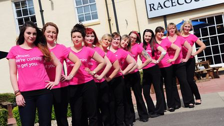 Some of the 19 female staff from Castle Carvery who are running the Race for Life.Photo by Simon Fin