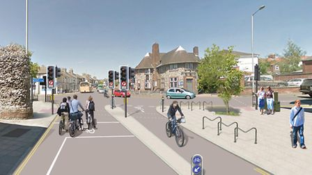 How a new contraflow cycle lane in Magdalen Street might look.