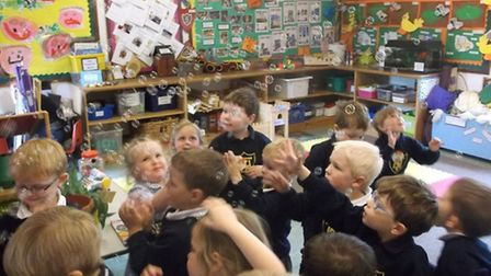 Taverham Hall Nursery children enjoy bubble time at Jo Jingles session. Picture: SUBMITTED.