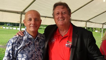 Eric Bristow and Lord Baker of Little Moulton at the Star Throwers darts match in Wymondham.