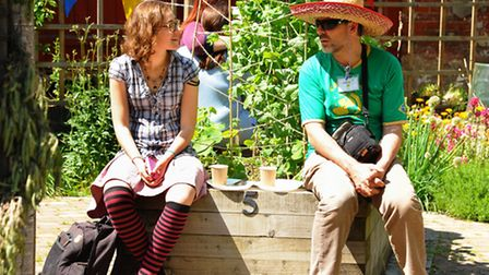 The Big Lunch event at the Grapes Hill Community Garden. Chatting over their Big Lunch. Picture: Den