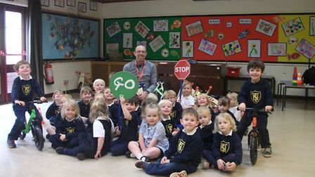 Taverham Hall Prep School nursery pupils have special visitors. Norfolk County Council's road safety