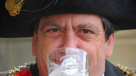 Lord Mayor of Norwich Keith Driver, launches last year's City of Ale festival with a pint.Photo: Ste