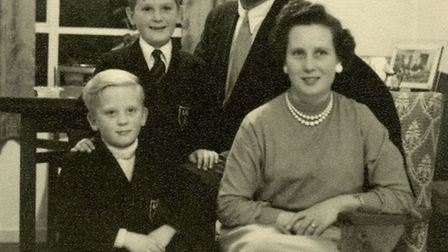 Polish raf pilot, Joe Podolski with family wife Mil, Nigel 6 and Andrew 8 at their Norwich home. Pho
