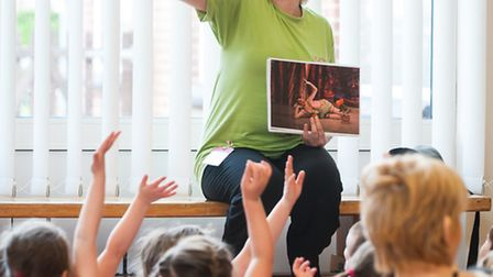 Leanne Kirkham, dance education officer with Northern Ballet, working with reception children at Ard